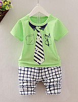 cheap -Boys' Daily Print Clothing Set,Cotton Summer Short Sleeve Casual Yellow Green Blue