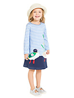 cheap -Girl's Daily Holiday Striped Patchwork Dress, Cotton All Seasons Long Sleeves Cute Casual Blue
