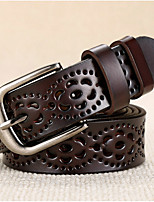 cheap -Women's Leather Alloy Waist Belt,Brown White Black Red Camel Casual Buckle