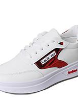 Недорогие -Жен. Обувь Полиуретан Весна Удобная обувь На плокой подошве Для прогулок Микропоры Круглый носок для Повседневные Черный Красный