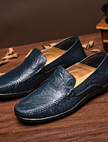 cheap -Men's Shoes Cowhide All Seazons Comfort Loafers & Slip-Ons for Casual Brown Dark Blue Black