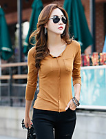 cheap -Women's Daily Casual T-shirt,Solid V Neck Long Sleeve Polyester