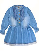 cheap -Girl's Daily Solid Dress,Cotton Spring Long Sleeves Casual Active Blue