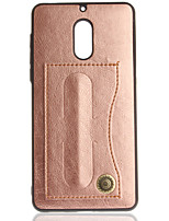cheap -Case For Nokia Nokia 6 Nokia 3 Card Holder with Stand Back Cover Solid Color Hard PU Leather for Nokia 6 Nokia 3