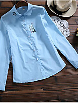 cheap -Women's Daily Wear Work Active Shirt,Solid Shirt Collar Long Sleeves Cotton Others