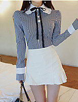 cheap -Women's Daily Work Sexy Street chic Spring Summer Shirt,Solid Shirt Collar Long Sleeve Cotton Polyester