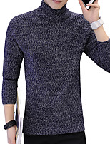 cheap -Men's Pullover - Solid Print Turtleneck
