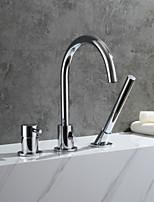 Недорогие -Современный Ванна и душ Одной ручкой три отверстия Хром , Смеситель для ванны