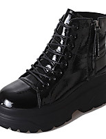 cheap -Women's Shoes PU Winter Fall Comfort Combat Boots Boots Flat Heel Round Toe Mid-Calf Boots for Casual Black