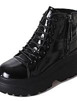 baratos -Feminino Sapatos Couro Ecológico Inverno Outono Conforto Coturnos Botas Sem Salto Ponta Redonda Botas Cano Médio para Casual Preto