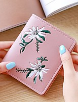 cheap -Women Bags PU Wallet Embroidery for Casual All Season Dark Green Gray Blushing Pink Black Blue
