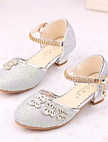 cheap -Girls' Shoes Sparkling Glitter Spring Fall Comfort Flower Girl Shoes Tiny Heels for Teens Heels for Casual Pink Purple Silver