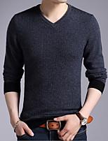 Недорогие -Для мужчин Повседневные На каждый день Обычный Пуловер Однотонный,V-образный вырез Длинный рукав Полиэстер Все сезоны Тонкая Эластичная