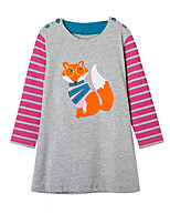 cheap -Girl's Daily Striped Patchwork Dress,Cotton Spring Fall Long Sleeves Cute Casual Cartoon Gray