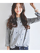 cheap -Women's Daily Casual Fall Shirt,Print Crew Neck Long Sleeve Cotton Medium