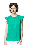 cheap -Women's Daily Vintage Spring Blouse,Solid Round Neck Long Sleeve Wool Cotton Acrylic