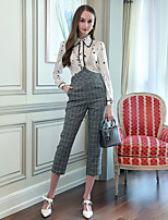 cheap -Women's Work Vintage All Seasons Shirt Pant Suits,Print Shirt Collar Long Sleeve Polyester