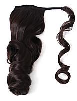 Недорогие -2018 мода натуральный темно-коричневый синтетический конский хвост волна тела волнистый кружевной фронтальный зажим в наращивании волос