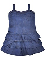 cheap -Girl's Daily Solid Dress,Cotton Summer Sleeveless Casual Blue
