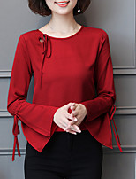 cheap -Women's Daily Casual Blouse,Solid Round Neck Long Sleeve Polyester