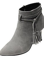 cheap -Women's Shoes PU Spring Fall Comfort Boots Stiletto Heel for Outdoor Gray Beige Black