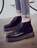 abordables -Mujer Zapatos PU Invierno Otoño Confort Botas Tacón Cuadrado Punta cerrada Botines/Hasta el Tobillo para Casual Al aire libre Negro Gris