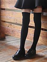 Недорогие -Девочки Трикотаж Хлопок Однотонный Весна Осень Активный Эластичная Черный Темно-серый