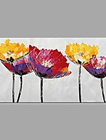 cheap -Hand-Painted Landscape Floral/Botanical Horizontal, Classic Modern Canvas Oil Painting Home Decoration One Panel