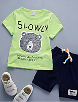 cheap -Boys' Daily Print Clothing Set,Nylon Summer Short Sleeve Casual Yellow Red White Green