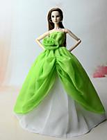 Недорогие -Платья Платье Для Кукла Барби Зеленый Платье Для Девичий игрушки куклы