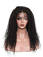 cheap -Human Hair Lace Front Wig Wig Mongolian Hair Kinky Curly With Baby Hair 120% Density Natural Hairline Short / Medium Length / Long Human Hair Lace Wig