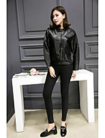 cheap -Women's Ordinary Leather Jacket-Solid Colored Stand