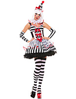 Недорогие -Клоун Косплэй Kостюмы Жен. Хэллоуин Фестиваль / праздник Костюмы на Хэллоуин Белый В клетку