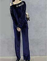 cheap -Women's Going out Simple Winter Set Pant Suits,Solid Off Shoulder Long Sleeves Polyester