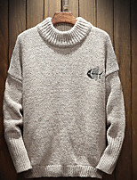 cheap -Men's Casual/Daily Regular Pullover,Solid Round Neck Long Sleeves Polyester Nylon Spring Opaque Micro-elastic