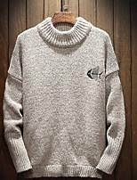 Недорогие -Для мужчин На каждый день Обычный Пуловер Однотонный,Круглый вырез Длинный рукав Полиэстер Нейлон Весна Плотная Слабоэластичная