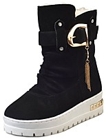 cheap -Women's Shoes PU Winter Comfort Combat Boots Boots Flat Heel Round Toe Mid-Calf Boots for Casual Red Beige Black