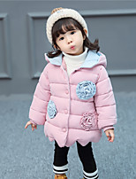 cheap -Girls' Birthday Daily Color Block Special Design Down & Cotton Padded,Polyester Long Sleeves Cute Casual Active Light Blue Fuchsia