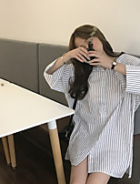 cheap -Women's Casual/Daily Active Spring/Fall Shirt,Striped Shirt Collar 3/4 Length Sleeve Cotton Medium