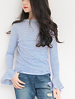 cheap -Girls' Striped Tee, Polyester Spring Long Sleeves Simple Blue