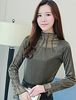cheap -Women's Daily Wear Cute Blouse,Solid Turtleneck Long Sleeves Cotton