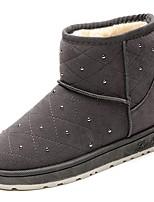 preiswerte -Damen Schuhe PU Winter Komfort Schneestiefel Pelzfutter Stiefel Flacher Absatz Runde Zehe Booties / Stiefeletten für Normal Schwarz Grau