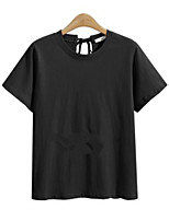 cheap -Women's Daily Casual Active Summer T-shirt,Solid Round Neck Short Sleeve Cotton Polyester Thin