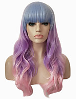 cheap -Synthetic Hair Wigs Wavy Body Wave Ombre Hair With Bangs Capless Halloween Wig Party Wig Lolita Wig Cosplay Wig Purple Pink