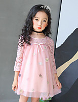cheap -Girl's Daily Going out Solid Floral Print Dress,Cotton Polyester Spring Summer 3/4 Length Sleeves Cute Active Princess Blushing Pink