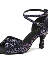 "cheap -Women's Latin Leatherette Sneaker Training Trim Stiletto Heel Blue Purple 2"" - 2 3/4"" Customizable"