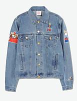 cheap -Women's Going out Casual Fall Denim Jacket,Print Shirt Collar Long Sleeve Regular Cotton Embroidered