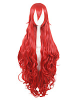 cheap -Synthetic Hair Wigs Deep Wave Capless Cosplay Wig Red