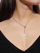 cheap -Women's Cross Shape Vintage Pendant Necklace , Imitation Pearl Alloy Pendant Necklace Daily Street
