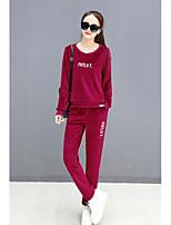cheap -Women's Casual/Daily Simple Fall Hoodie Pant Suits,Embroidery Round Neck Long Sleeves Polyester